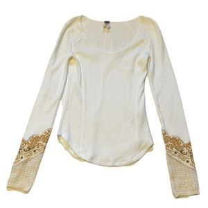 Free People We the Free White and Brown Waffle Shirt - Women's Size Medium